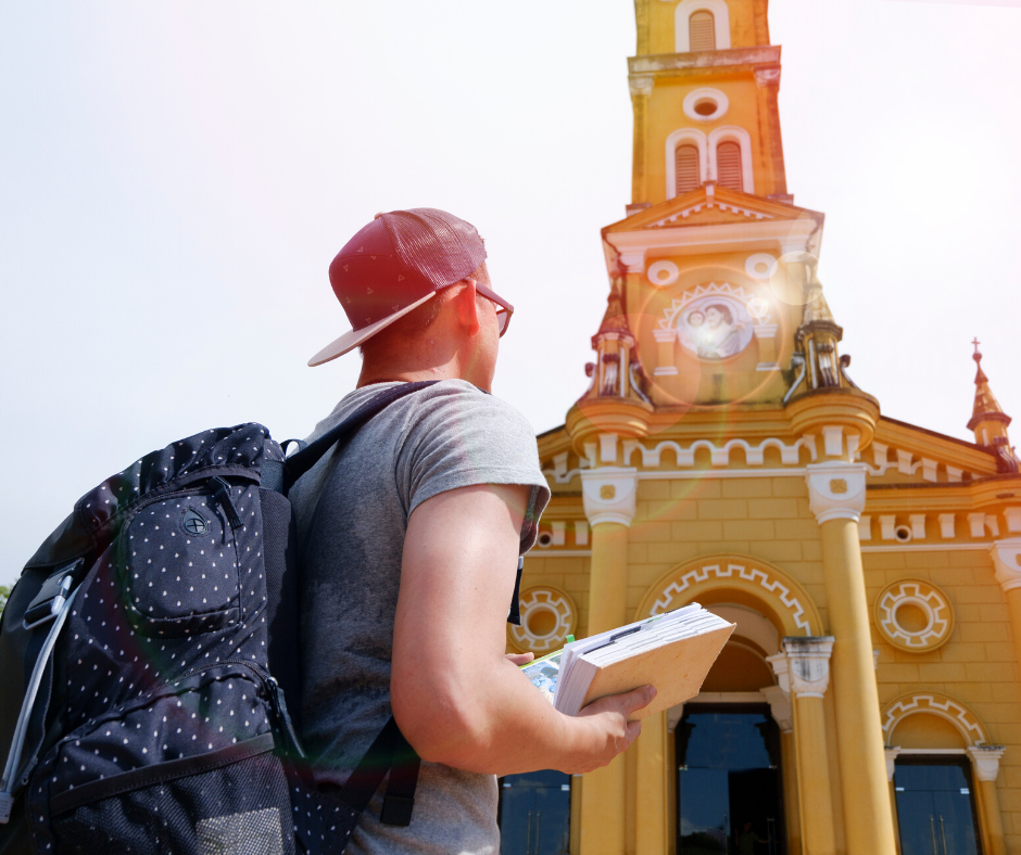 fun things to do at home: Male backpacker exploring